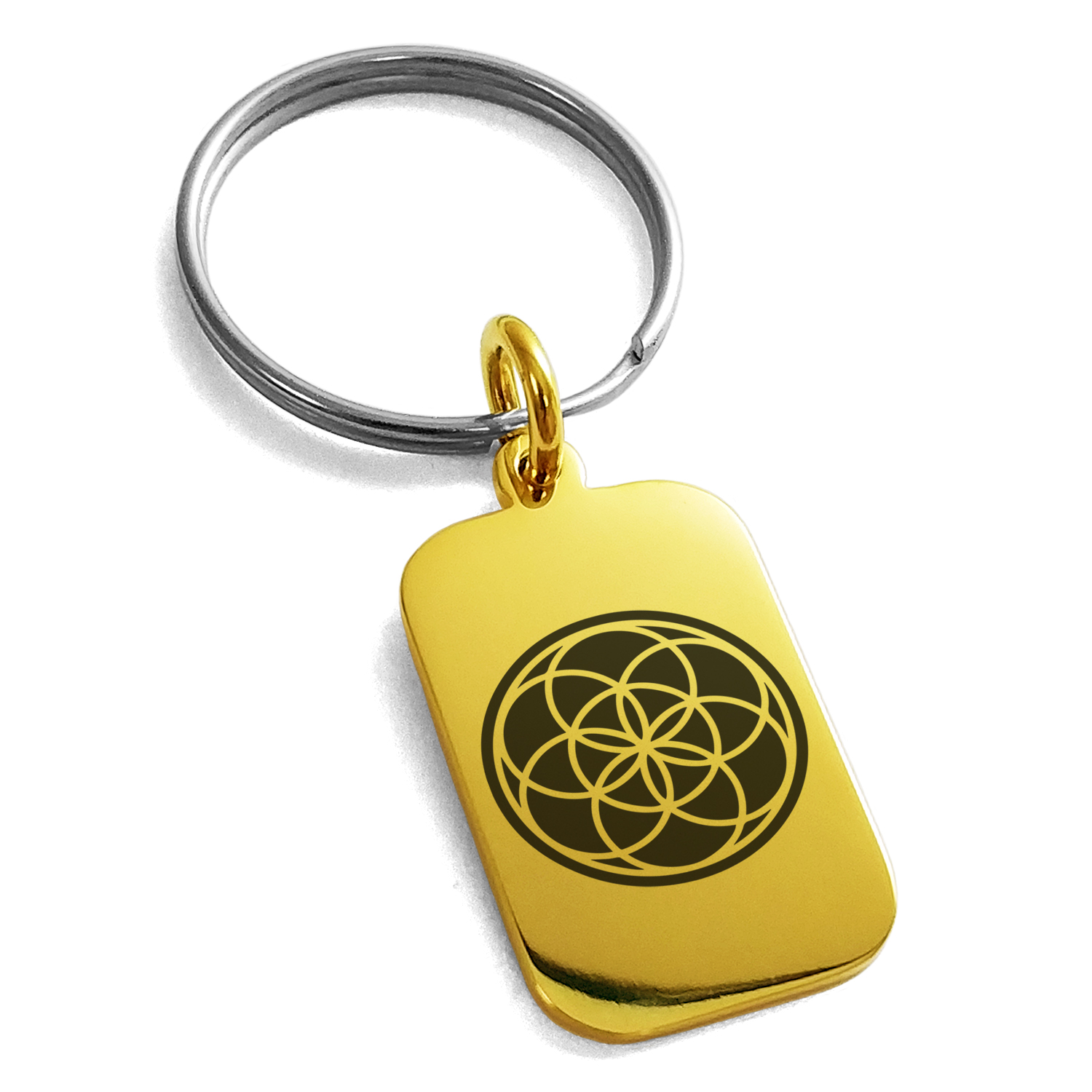 Stainless Steel Seed of Life Engraved Small Rectangle Dog Tag Charm Keychain Keyring