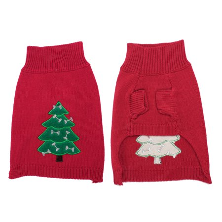 Unique Bargains Stand Collar Green Red Xmas Tree Printed Knitted Pet Dog Knitwear Sweater Xs