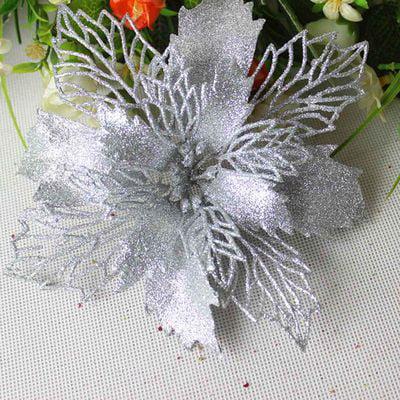 KABOER 5Pcs Artificial Decor Christmas Tree Flowers Poinsettia Xmas Gift Glitter Ornament DIY Home Wedding Decoration Flower Head Christmas ()