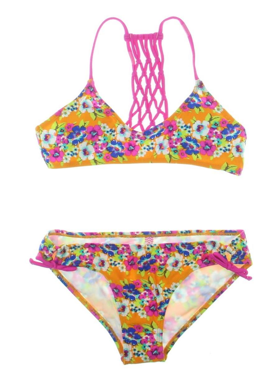Raisins Girls Girls Zuma Beach Macrame Floral Print Bikini Swimsuit