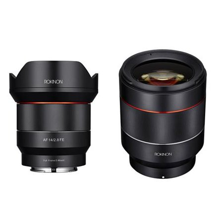 Rokinon 2 Lens Kit Includes 14mm F2.8 AF Wide Angle, Full Frame Auto Focus Lens for Sony E Mount - Rokinon Auto Focus 50mm f/1.4-16 FE Lens for Sony