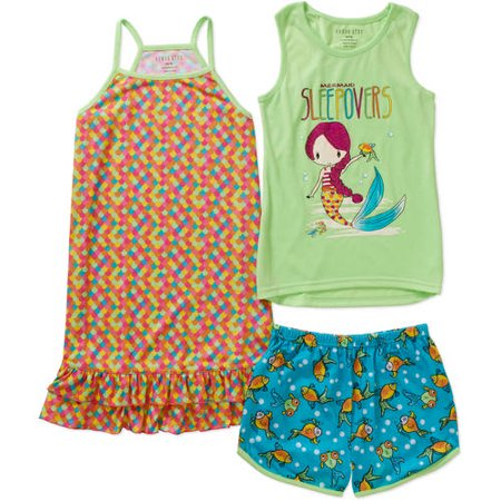 Komar Kids Girls' 3 Piece Sleepwear Set Mermaid Short Set with Print Gown, Novelty, Size: Small (Kids Gowns)
