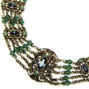 Sweet Romance  Sapphire Blue and Tourmaline Green Victorian Statement Necklace