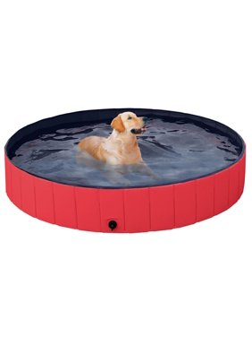 Foldable Pet Swimming Pool Bathing Tub Indoor Outdoor Red,63 x 12 inch, XXL