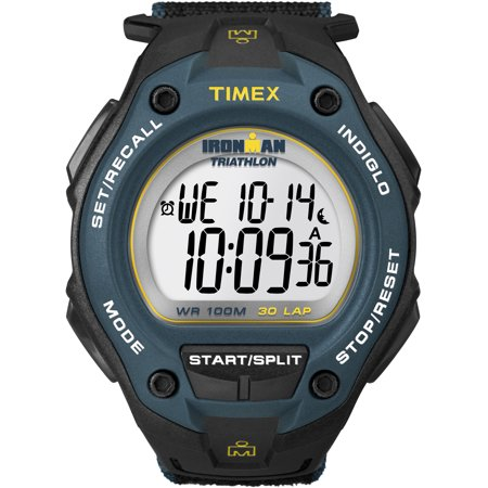 Timex Men's Ironman Classic 30 Oversized Black/Blue Watch, Fast Wrap Strap (Timex Ironman Pedometer)