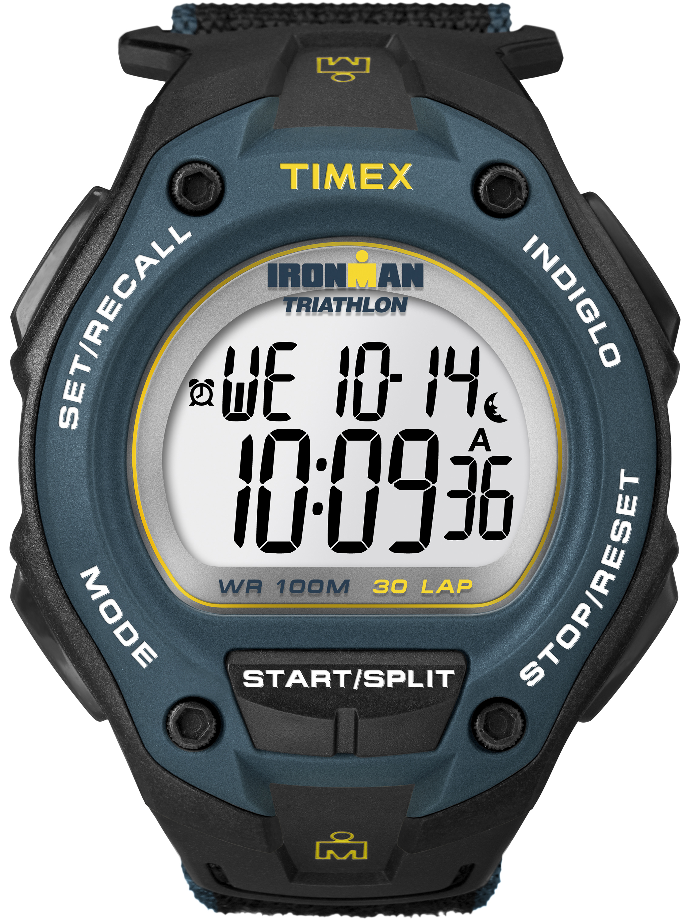 Timex Men's Ironman Classic 30 Oversized Black/Blue Watch, Fast Wrap Strap
