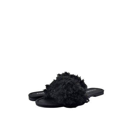- City Classified Bluebell S Women's Fur Slide Sandals