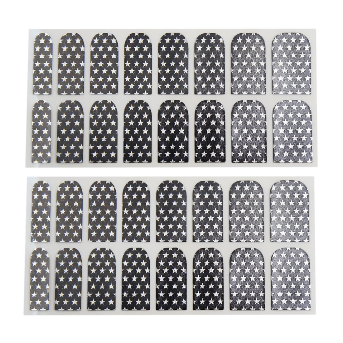 2 Set Black White Full DIY Nail Art Sticker Decals Foil Wraps Nails Polish Strip