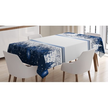 Christmas Tablecloth, Frosty Winter Theme Border Abstract Vibrant Trees and Stars Yuletide Artwork, Rectangular Table Cover for Dining Room Kitchen, 60 X 90 Inches, Dark Blue White, by Ambesonne