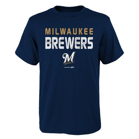 MLB Milwaukee BREWERS TEE Short Sleeve Boys Team Name and LOGO 100% Cotton Team Color 4-18](Milwaukee Brewers Baseball)