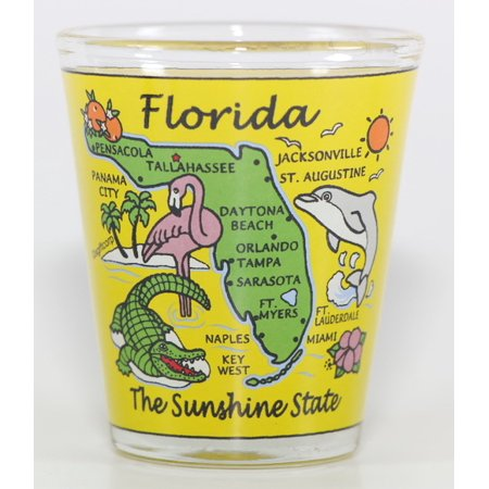 Florida Sunshine State Map Yellow Shot Glass