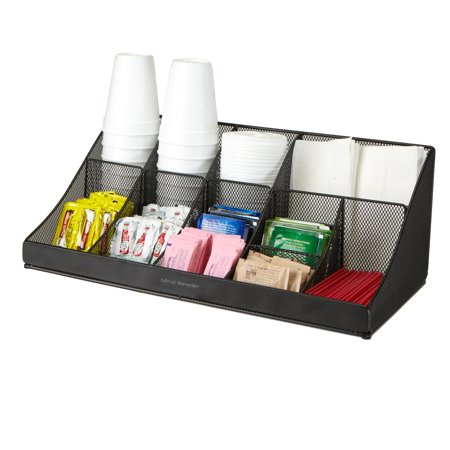 Mind Reader 'Pioneer' 11 compartment Breakroom Coffee Condiment, Cups, Lids, Sugars, Stirrers, Storage Organizer- Black Mesh