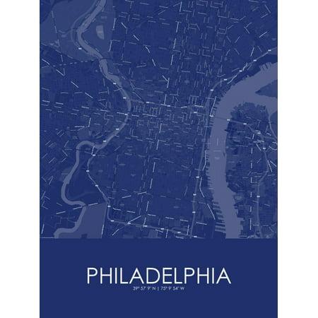Philadelphia, United States of America Blue Map Poster Wall Art ()