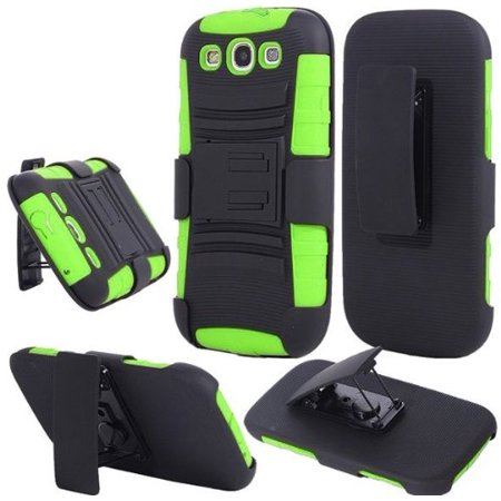 online store bf2d4 cbb40 Hybrid Rhino Armor Case with Holster & Swivel Clip + Opener + Stylus Pen  for Samsung Galaxy S3 i9300 - Neon Green/Black