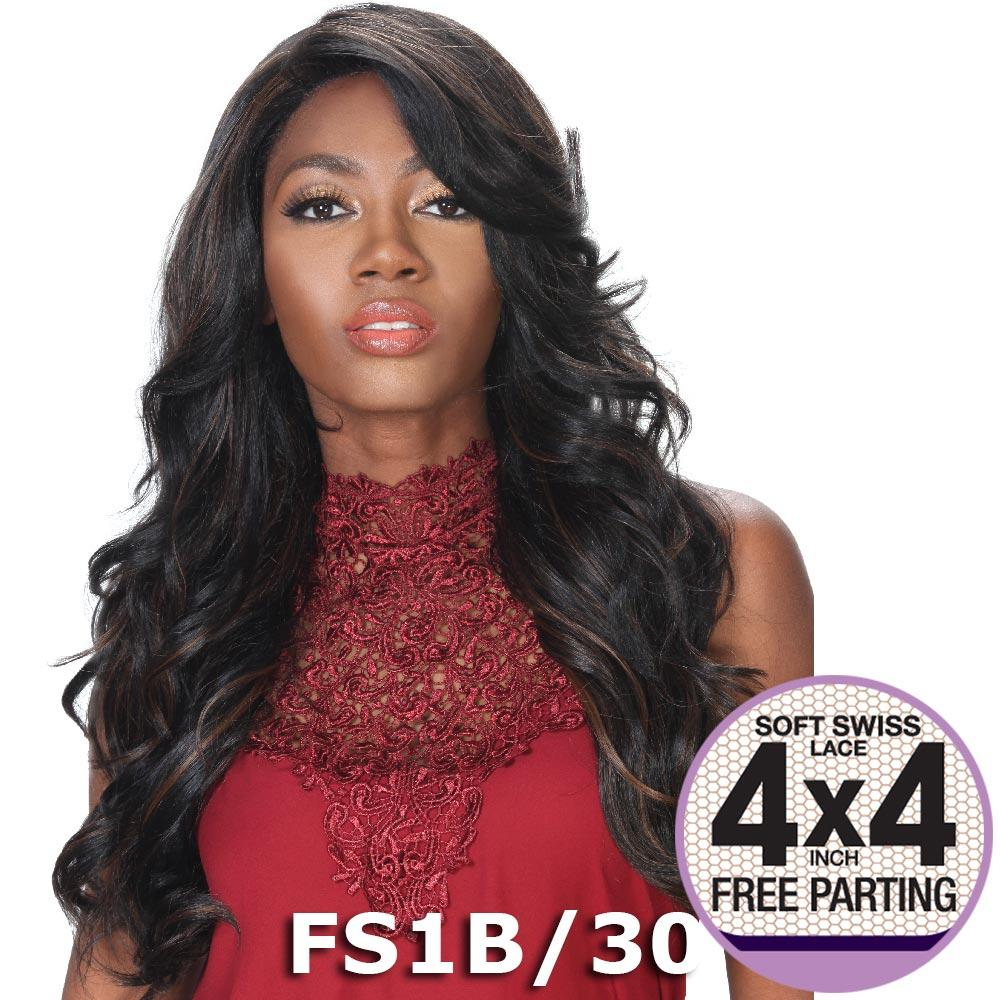 """Sis Prime Human Hair Blend 4""""X4"""" Lace Front Wig - CHERRY (Midnight Blue)"""