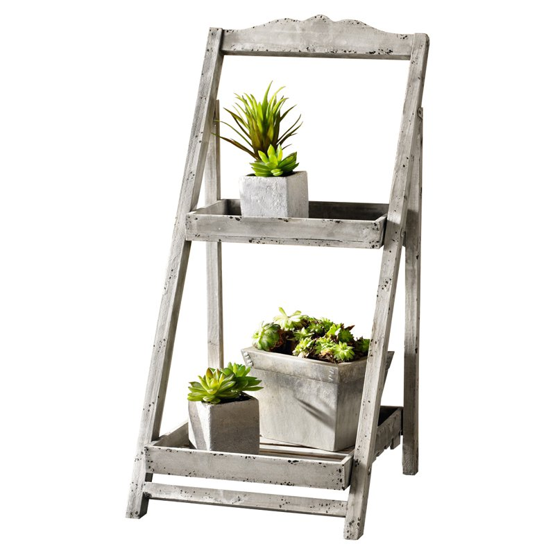 HGC Foldable 2 Shelf Wooden Plant Stand by