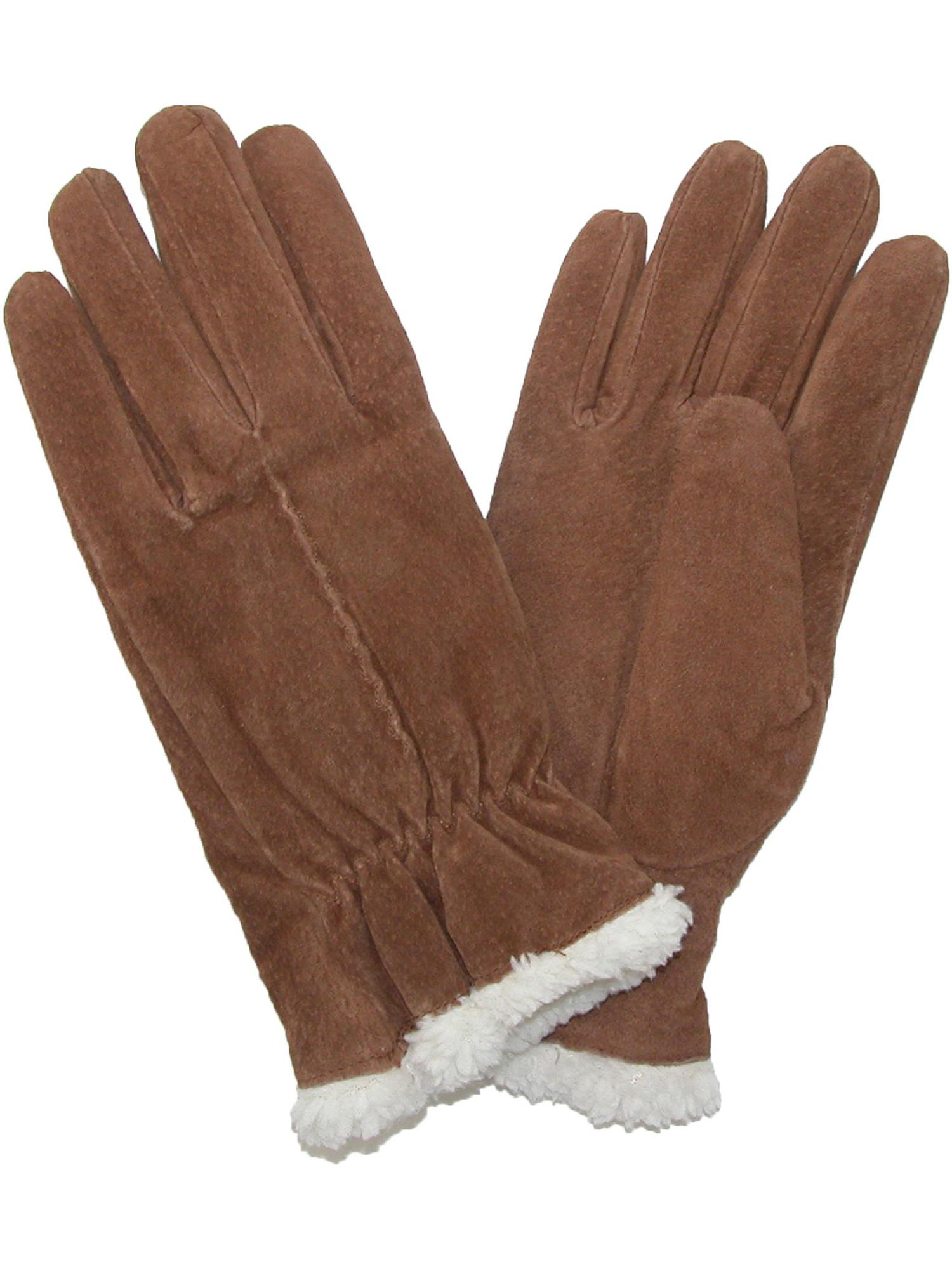 totes ISOTONER Size Xlarge Womens Suede with Sherpa Spill Winter Gloves, Black by Winter Gloves