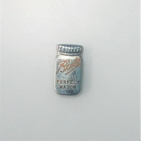 1 PC - Bell Mason Jar Enamel Silver Charm for Floating Locket Jewelry F0435