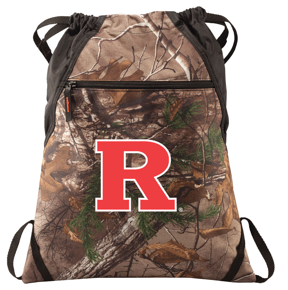 RealTree Camo Rutgers University Cinch Pack Backpack Official Rutgers University Camo Drawstring Backpack for Him or Her
