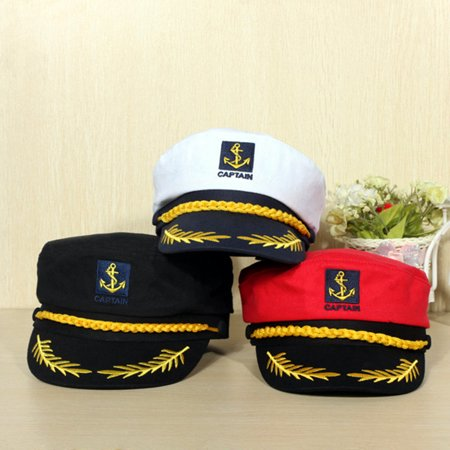 Yacht Sailor Navy Captain Hat Boating Boat Skipper Sailors Cap Halloween Costume Unisex Adjustable,Black color - Captain Hat Halloween