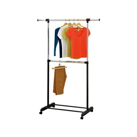 Mind Reader Adjustable Metal 2 Tier Double Rod Rolling Garment Rack, Silver ()
