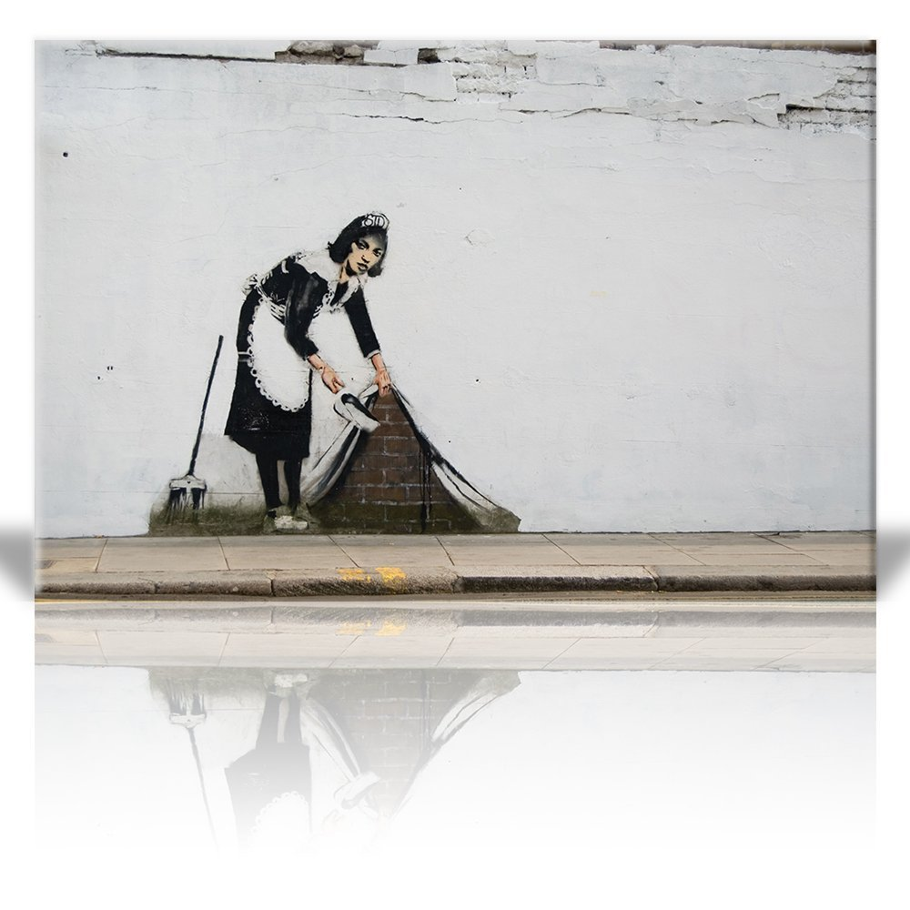 Wall26 - Canvas Print Wall Art - Maid in London - Street Art - Guerilla - Banksy Street Artwork on Canvas Stretched Gallery Wrap. Ready to Hang - 32 x 48 inches