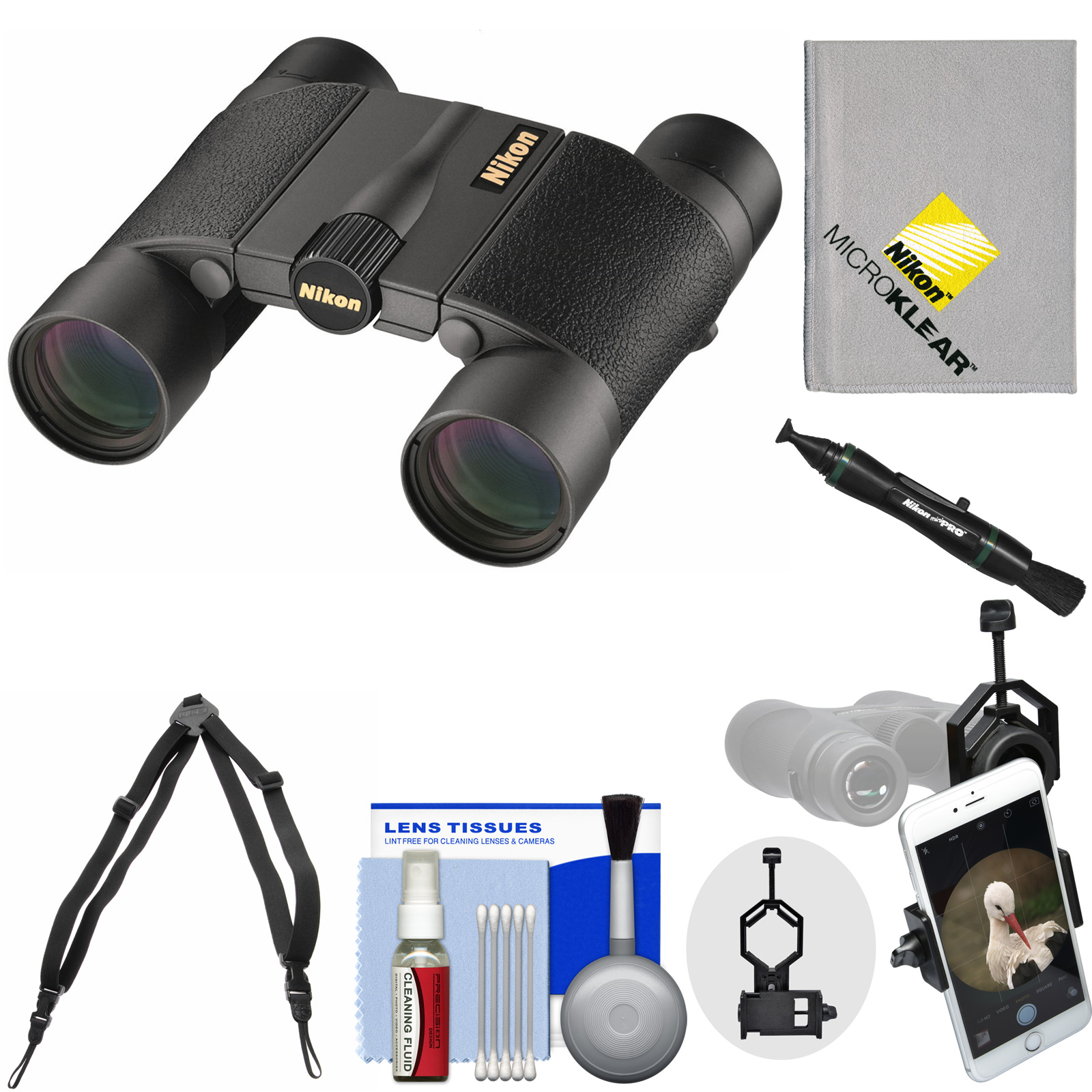 Nikon Premier LX L 10x25 Waterproof / Fogproof Binoculars with Case   Harness   Smartphone Adapter   Cleaning Kit