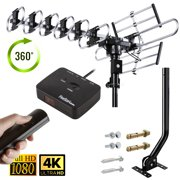 Up to 200 Miles Long range Five Star Outdoor 4K HDTV Antenna with 360 Degree Rotation UHF VHF FM Radio with Remote Control with J-pole