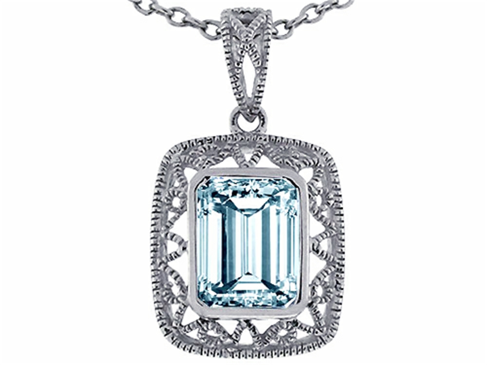 Star K Emerald Cut Simulated Aquamarine Pendant Necklace in 14 kt White Gold by