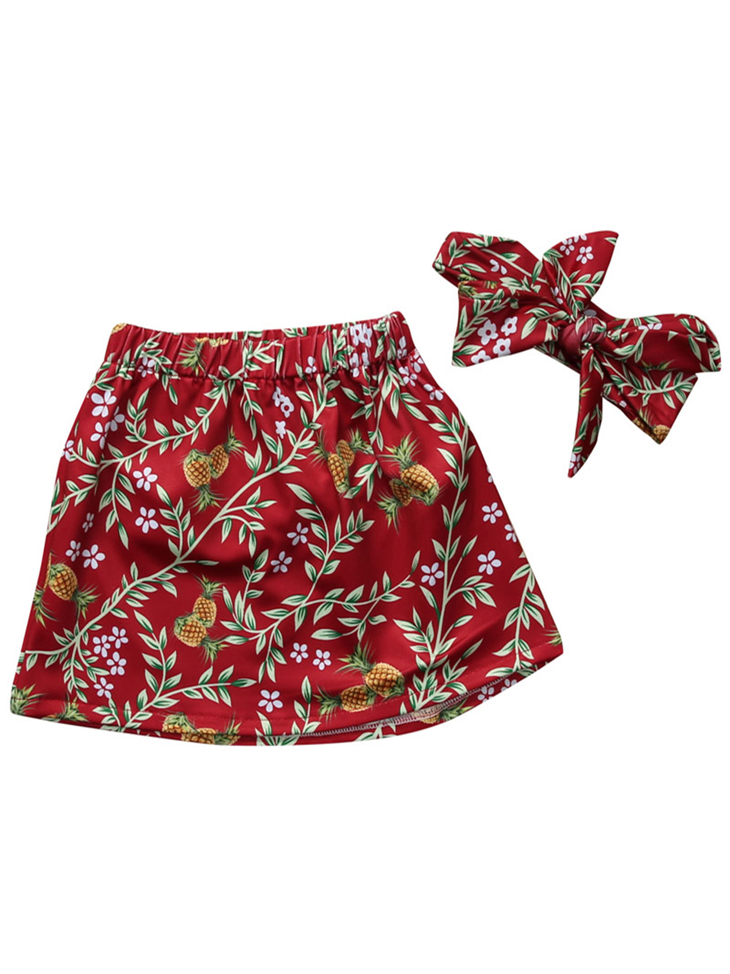StylesILove Baby Girl Cute and Soft Floral Skirt and Headband 2-PC Set (100/2-3 Years, Burgundy)