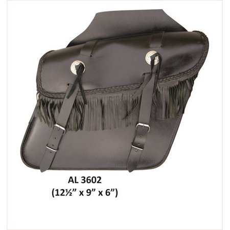 Motorcycle Medium Luggage Fringe throw-over Saddle Bag in Leather With Conchos