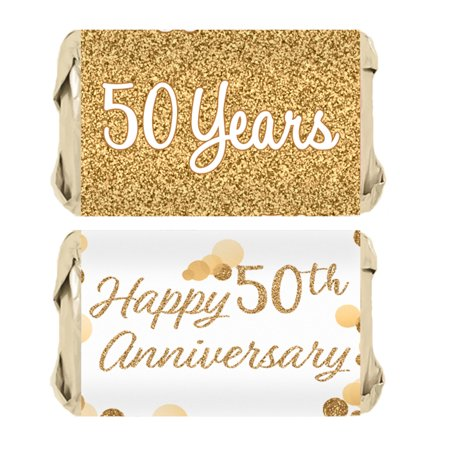 Tiki Bar Party Supplies (Gold 50th Anniversary Party Mini Candy Bar Wrapper Stickers, 45)