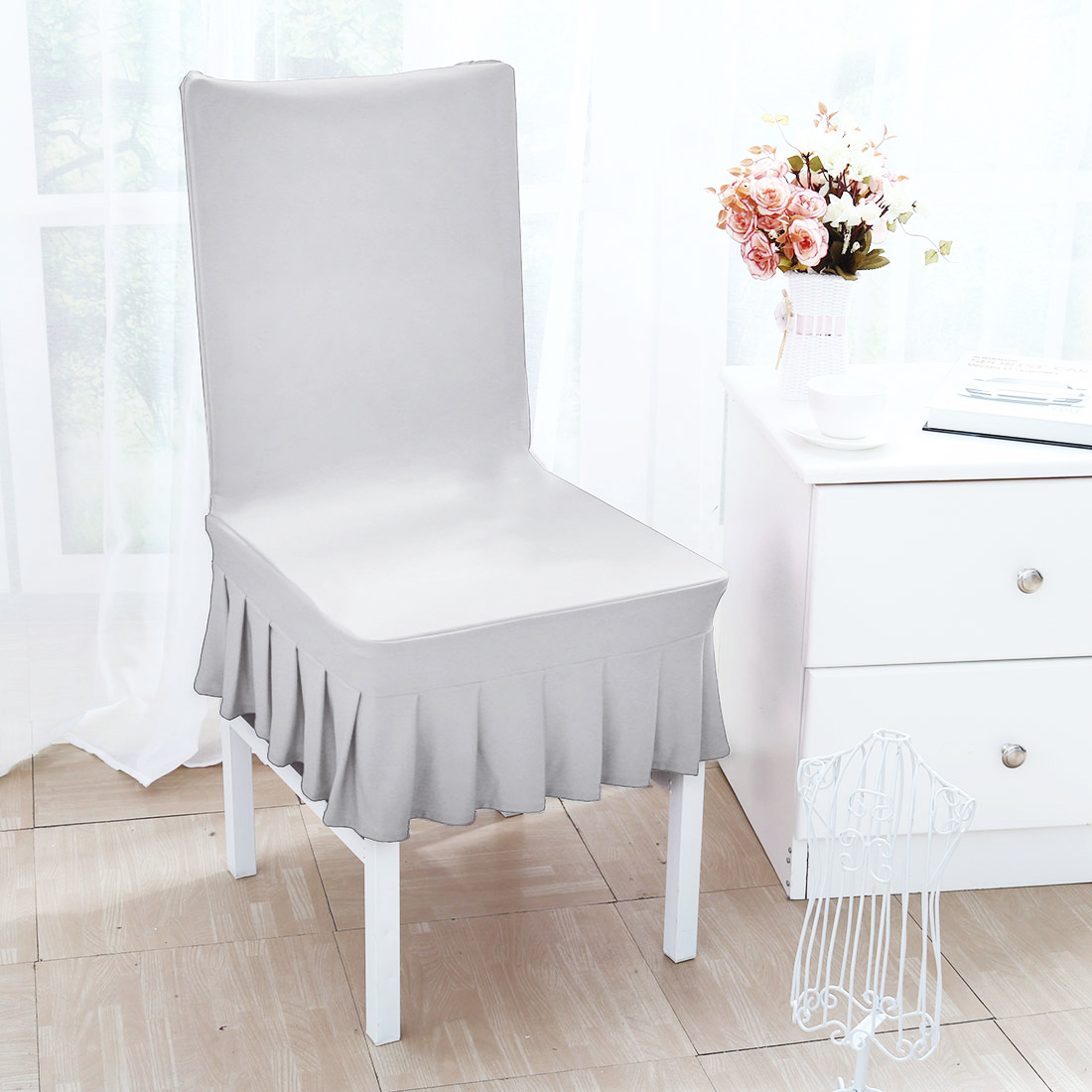 Stretchy Spandex Ruffled Skirt Short Dining Room Chair