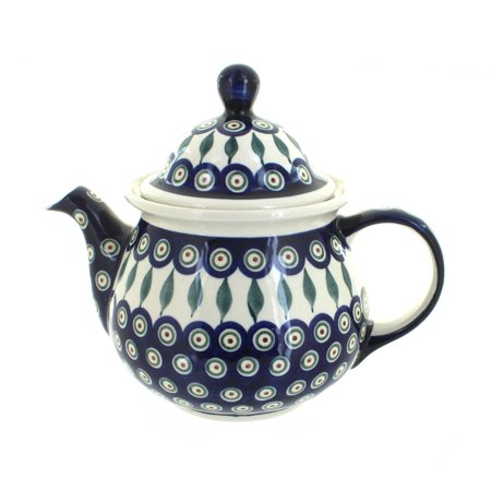 Polish Pottery Peacock Large Teapot