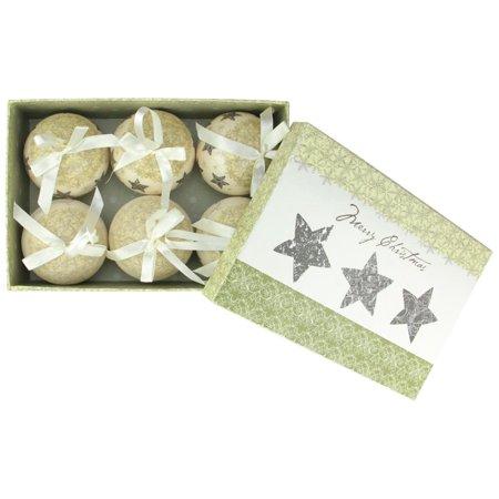 6-Piece Cream White Merry Christmas and Stars Decoupage Shatterproof Ball Ornament Set 2.75
