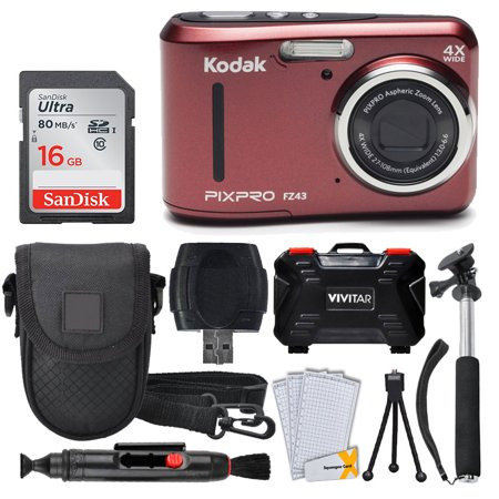 Kodak PIXPRO FZ43 Digital Camera (Red) + 16GB Memory Card + Deluxe Point and Shoot Camera Case + Extendable Monopod + Lens Cleaning Pen + LCD Screen Protectors + Table Top Tripod – Top Valued Bundle ()