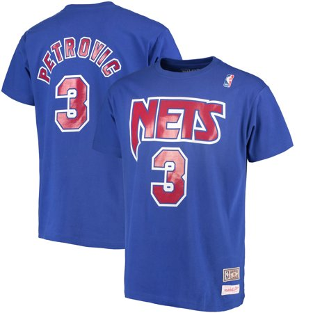 sale retailer ed881 79987 Drazen Petrovic New Jersey Nets Mitchell & Ness Hardwood Classics Retro  Name & Number T-Shirt - Royal