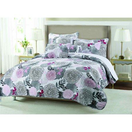 Fall Garden Hardy Mums Hypoallergenic 3 Piece Quilt Set Bedroom Quilt Bedding Full Queen Size
