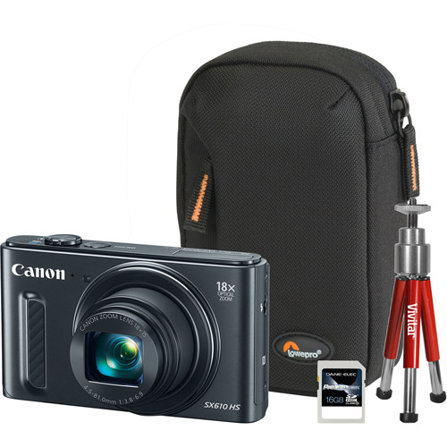 Canon Black PowerShot SX610 HS Digital Camera Bundle with 20.2 Megapixels and 18x Optical Zoom
