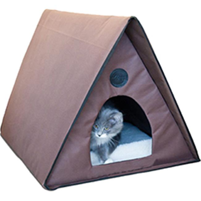 K&h Pet Products 043253 Outdoor Heated Multi, Kitty Aframe Chocolate 20 inch