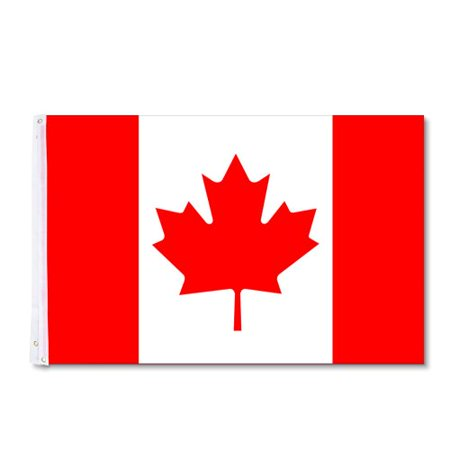 Maple Leaf Canadian Flag with Grommets for Flagpole: 3' x (Best Wood For Decks In Canada)