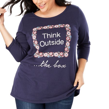 234d2ee07e Woman Within - Plus Size Graphic Print Tee - Walmart.com