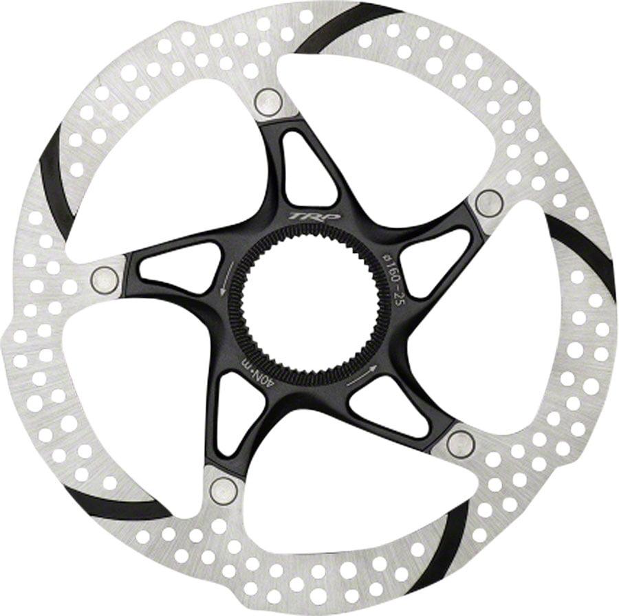 TRP Centerlock-25 Rotor, 2-Piece Heat Dispersion, Stainless Steel, Alloy Carrier, Centerlock Sold Separately, 180mm: Silver