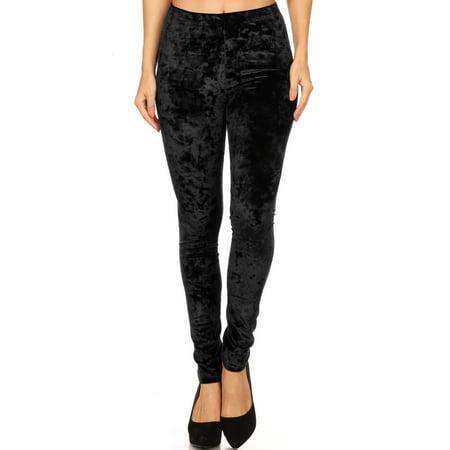 Women's Crushed Velvet Leggings (Black, Medium)