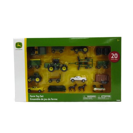 John Deere Toy Tractor Set, Tractor & Farm Animal Toys, 1:64 Scale, 20 (Small Farm Tractors)