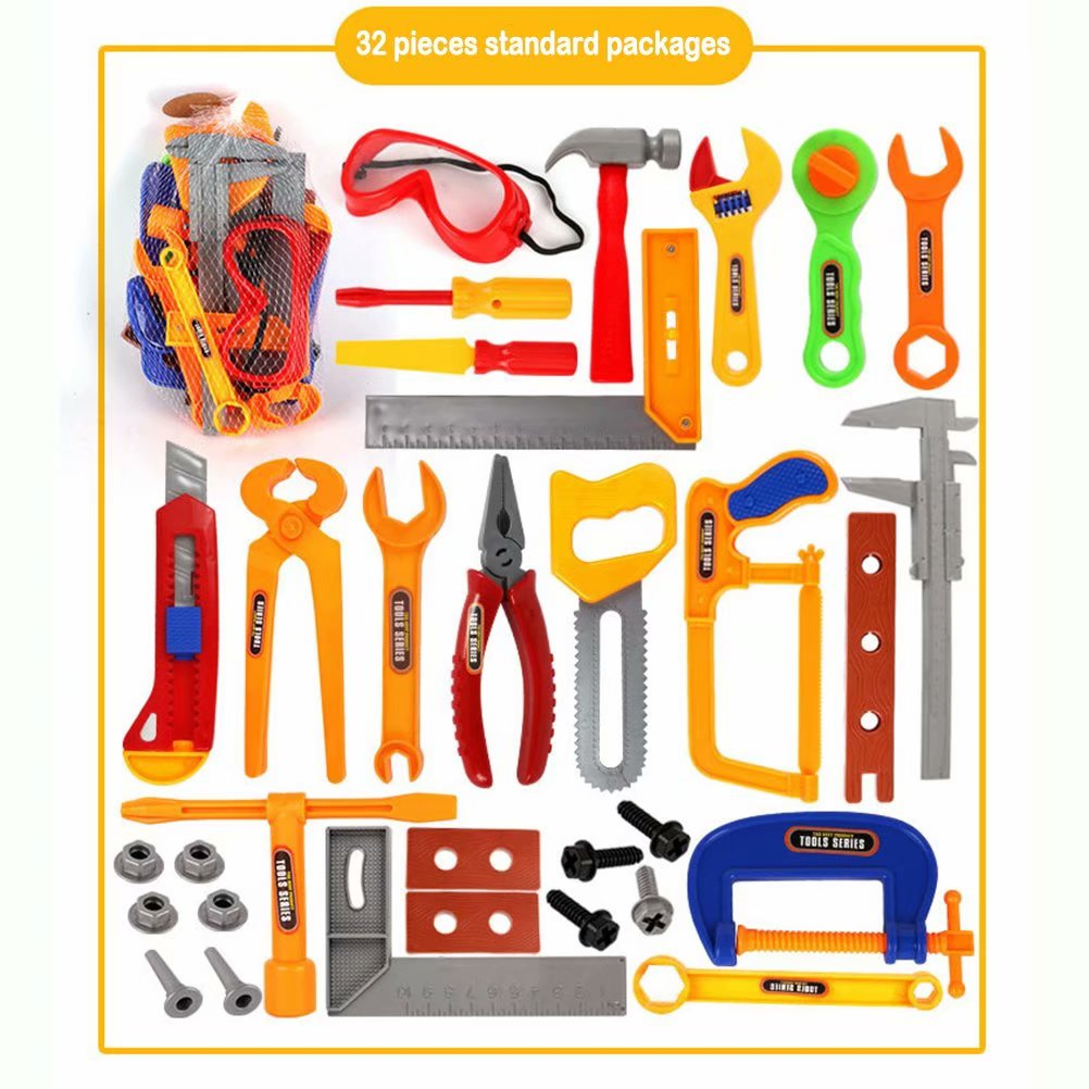 Noroomaknet 32pcs Toys for Boys 3-6 Years,Power Drill Toy Helmet Toy Set Maintenance Tool Toy For Children