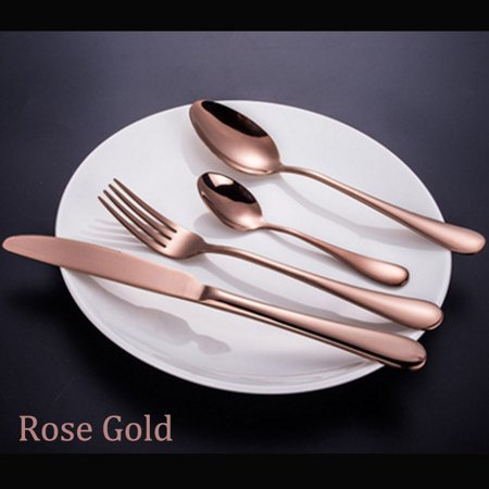 4pcs Set Luxury Black Gold Plated Cutlery Camping Stainless Steel Flatware Dinnerware Fork Knife Spoons Tableware Home Dishes Travel Wedding