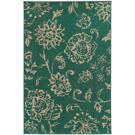 Tommy Bahama Seaside Area Rug 4922L Teal Petals Vines 3' 7