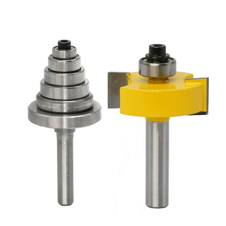 8MM Shank Rabbet Router Bit with Bearings Set Woodworking Milling Tenon Cutter - image 1 de 7