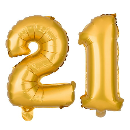 21 Party Balloons for 21st Birthday, Decoration Ideas and Party Supplies, Large Balloon Numbers (40 Inch, Gold)
